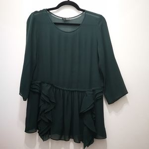 Theory Green Silk Blouse